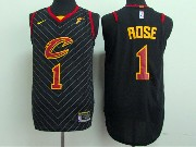 Mens Nba Cleveland Cavaliers #1 Derrick Rose Black Stripe Nike Jersey