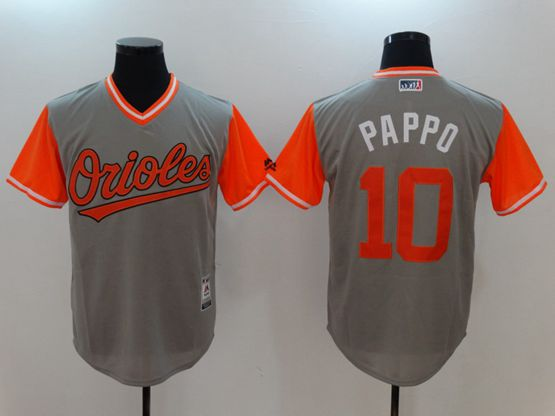 Mens Majestic Baltimore Orioles #10 Adam Jones (pappo) Majestic Gray 2017 Players Weekend Authentic Jersey