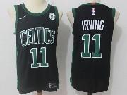 Mens Nba Boston Celtics #11 Kyrie Irving Black Green Number Nike Jersey