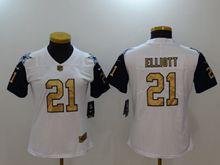 Women Dallas Cowboys #21 Ezekiel Elliott White Gold Number Vapor Untouchable Limited Jersey