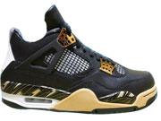 Mens Air Jordan 4 (gold Medal) Basketball Shoes Black Colour