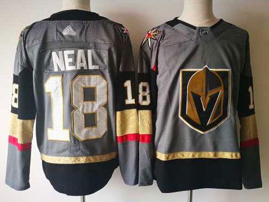 Mens Vegas Golden Knights #18 James Neal Gray Hockey Adidas Jersey
