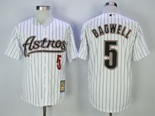 Mens Mlb Houston Astros #5 Jeff Bagwell White Black Stripe Turn Back Jersey