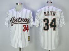 Mens Mlb Houston Astros #34 Nolan Ryan White Black Stripe Turn Back Jersey