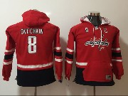 Youth Nhl Washington Capital #8 Ovechkin Red&black Hoodie Jersey