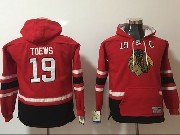Youth Nhl Chicago Blackhawks #19 Jonathan Toews Red&black Hoodie Jersey