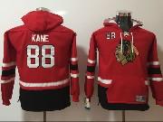 Youth Nhl Chicago Blackhawks #88 Patrick Kane Red&black Hoodie Jersey