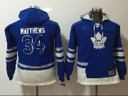 Youth Reebok Nhl Toronto Maple Leafs #34 Auston Matthews Blue Hoodie