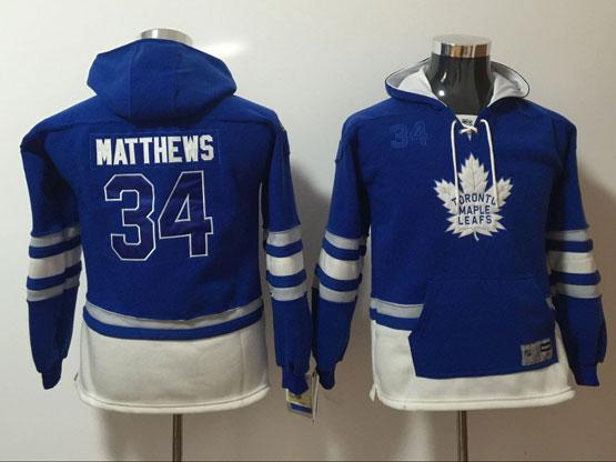 Youth Reebok Nhl Toronto Maple Leafs #34 Auston Matthews Blue Hoodie