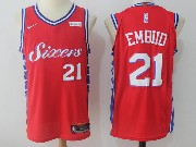 Mens Nba Philadelphia 76ers #21 Joel Embiid Red Nike Jersey