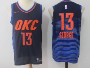 Mens Nba Oklahoma City Thunder #13 Paul George Dark Blue Orange Number Nike Jersey