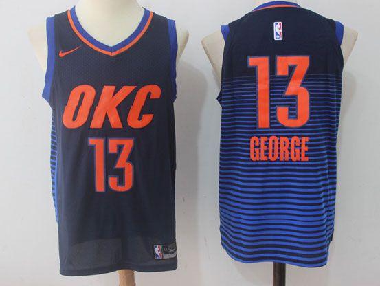 Mens Nba Oklahoma City Thunder #13 Paul George Dark Blue Orange Number Nike Jersey