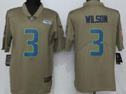 Mens Seattle Seahawks #3 Russell Wilson Green Olive Salute To Service Limited Nike Jersey