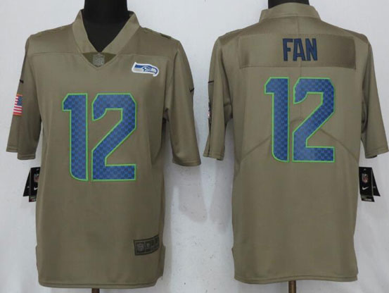 Mens Women Youth Nfl Seattle Seahawks #12 Fan Green Olive Salute To Service Limited Nike Jersey