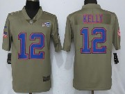 Mens Nfl Buffalo Bills #12 Jim Kelly Green Olive Salute To Service Limited Nike Jersey