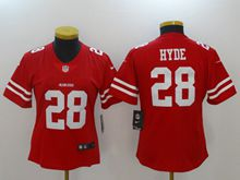 Women San Francisco 49ers #28 Carlos Hyde Red Vapor Untouchable Limited Jersey