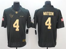 Mens Houston Texans #4 Deshaun Watson Salute To Service Limited Gold Number Jersey