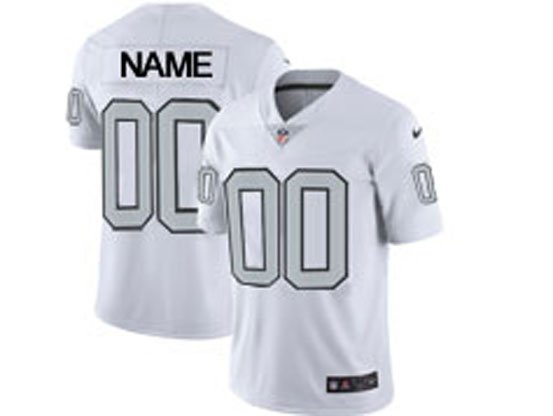 Mens Women Youth Nfl Oakland Raiders Custom Made White Silver Number Color Rush Limited Jersey