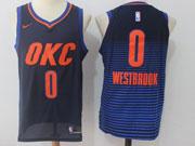 Mens Nba Oklahoma City Thunder #0 Russell Westbrook Dark Blue Orange Number Nike Jersey