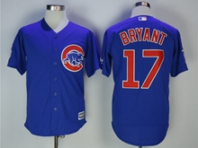 Mens Majestic Mlb Chicago Cubs #17 Kris Bryant Blue Cool Base Jersey With Team Patch