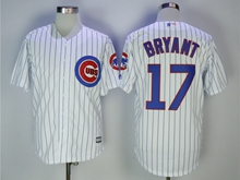 Mens Majestic Mlb Chicago Cubs #17 Kris Bryant White Cool Base Jersey With Team Patch