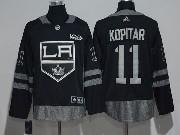 Mens Nhl Los Angeles Kings #11 Anze Kopitar Black 100 Anniversary Adidas Jersey