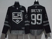 Mens Nhl Los Angeles Kings #99 Wayne Gretzky Black 100 Anniversary Adidas Jersey