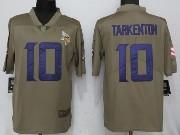 Mens Nfl Minnesota Vikings #10 Fran Tarkenton Green Olive Salute To Service Limited Nike Jersey
