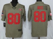 Mens San Francisco 49ers #80 Jerry Rice Green Olive Salute To Service Limited Nike Jersey