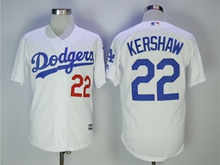 Mens Mlb Los Angeles Dodgers #22 Clayton Kershaw White Cool Base Jersey With Team Patch