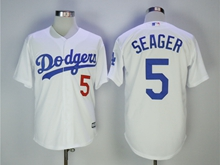 Mens Mlb Los Angeles Dodgers #5 Corey Seager White Cool Base Jersey With Team Patch