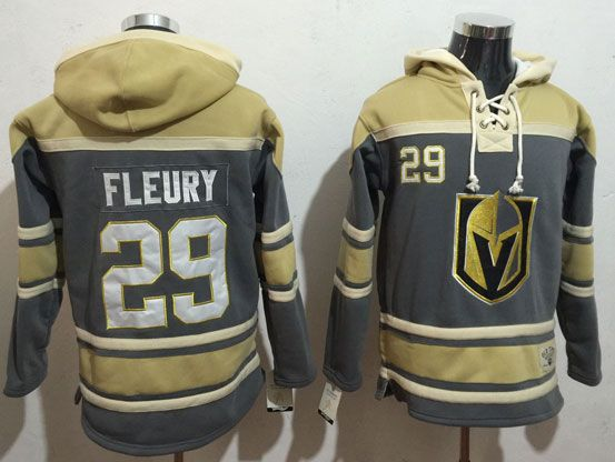 Mens Vegas Golden Knights #29 Marc-andre Fleury Gray Hoodie Jersey