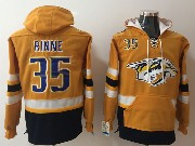 Mens Nhl Nashville Predators #35 Pekka Rinne Gold Pocket Hoodie Jersey