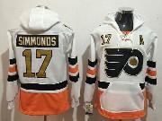 Mens Philadelphia Flyers #17 Wayne Simmonds White Pocket Hoodie Jersey
