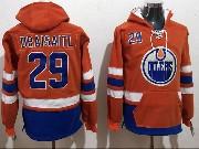 Mens Nhl Edmonton Oilers #29 Leon Draisaitl Orange Pocket Hoodie Jersey