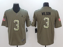 Mens Seattle Seahawks #3 Russell Wilson Green 2017 Olive Salute To Service Limited Camo Number Jersey