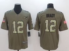 Mens New England Patriots #12 Tom Brady Green 2017 Olive Salute To Service Limited Camo Number Jersey