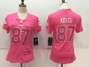 Women Nfl Kansas City Chiefs #87 Travis Kelce Pink Vapor Untouchable Limited Jersey