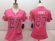 Women Nfl Kansas City Chiefs #27 Kareem Hunt Pink Vapor Untouchable Limited Jersey