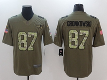 Mens New England Patriots #87 Rob Gronkowski Green 2017 Olive Salute To Service Limited Camo Number Jersey