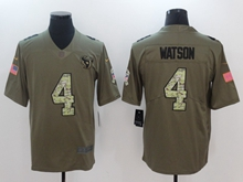Mens Houston Texans #4 Deshaun Watson Green 2017 Olive Salute To Service Limited Camo Number Jersey