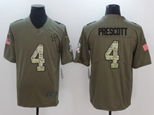 Mens Dallas Cowboys #4 Dak Prescott Green 2017 Olive Salute To Service Limited Camo Number Jersey