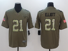 Mens Dallas Cowboys #21 Ezekiel Elliott Green 2017 Olive Salute To Service Limited Camo Number Jersey