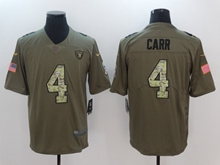 Mens Nfl Oakland Raiders #4 Derek Carr Green 2017 Olive Salute To Service Limited Camo Number Jersey