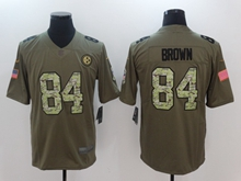 Mens Nfl Pittsburgh Steelers #84 Antonio Brown Green 2017 Olive Salute To Service Limited Camo Number Jersey