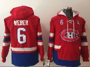 Mens Montreal Canadiens #6 Shea Weber Red One Front Pocket Hoodie Jersey