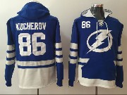 Mens Tampa Bay Lightning #86 Nikita Kucherov Blue One Front Pocket Hoodie Jersey