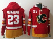 Mens Nhl Calgary Flames #23 Sean Monahan Red One Front Pocket Hoodie Jersey