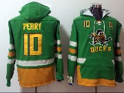 Mens Nhl Anaheim Mighty Ducks #10 Corey Perry Green One Front Pocket Hoodie Jersey