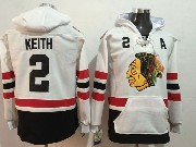 Mens Nhl Chicago Blackhawks #2 Duncan Keith White One Front Pocket Hoodie Jersey